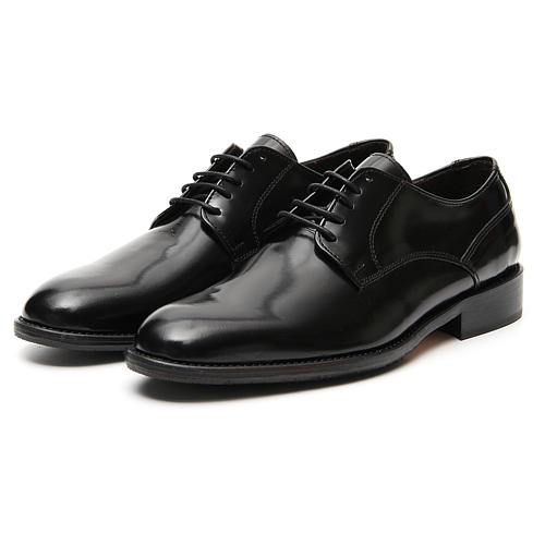 Shoes in polished real black leather 5