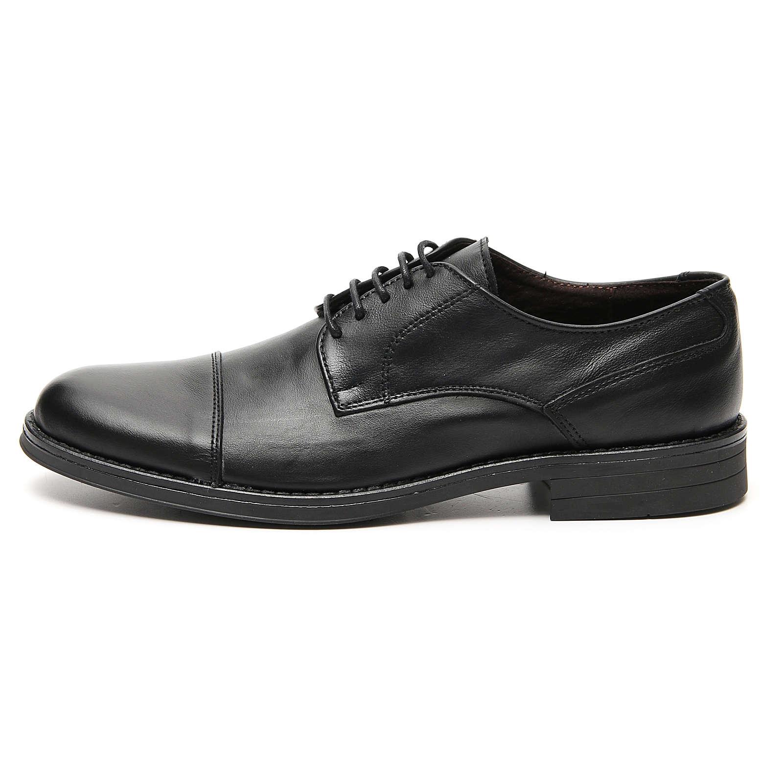 Zapatos verdadero cuero negro opaco con punta cortada 4