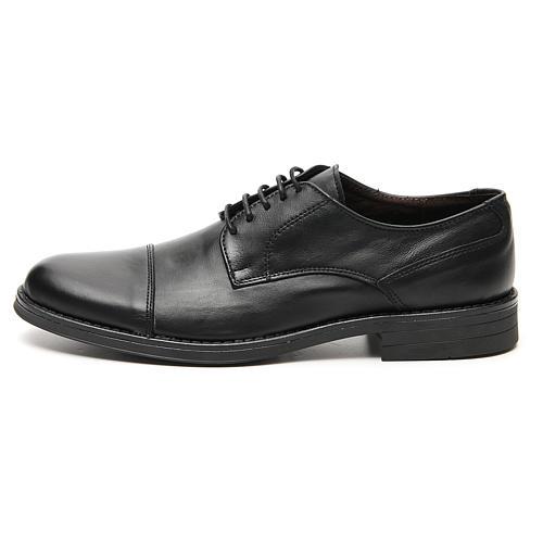 Zapatos verdadero cuero negro opaco con punta cortada 1