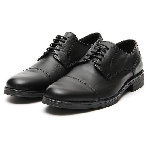 Zapatos verdadero cuero negro opaco con punta cortada 5