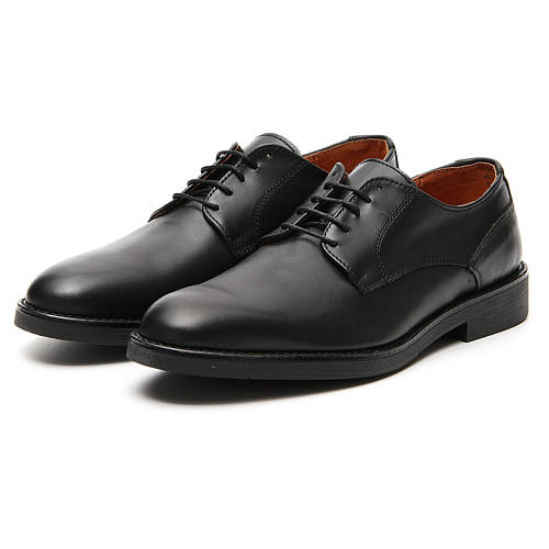 Shoes in opaque real black leather 5