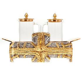 Cruet set for mass with silver gold cross s4