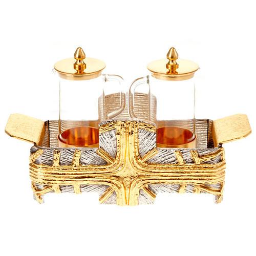Cruet set for mass with silver gold cross 1