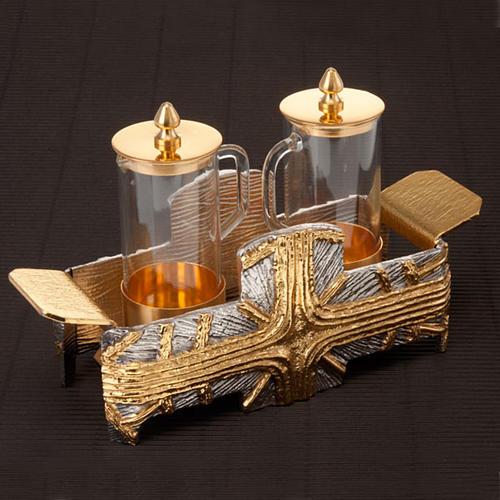 Cruet set for mass with silver gold cross 3