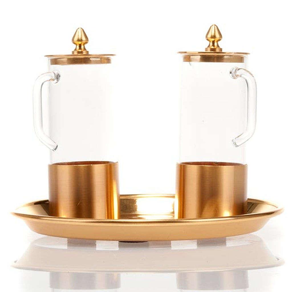 Cruet set for mass in polished brass 4