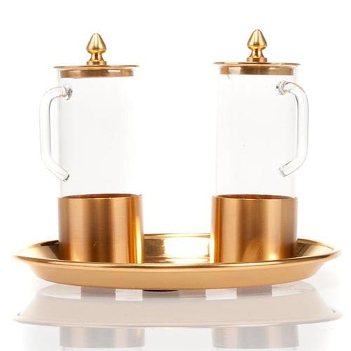 Cruet set for mass in polished brass 2