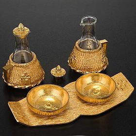 Cruet set gold-plated amphora s4