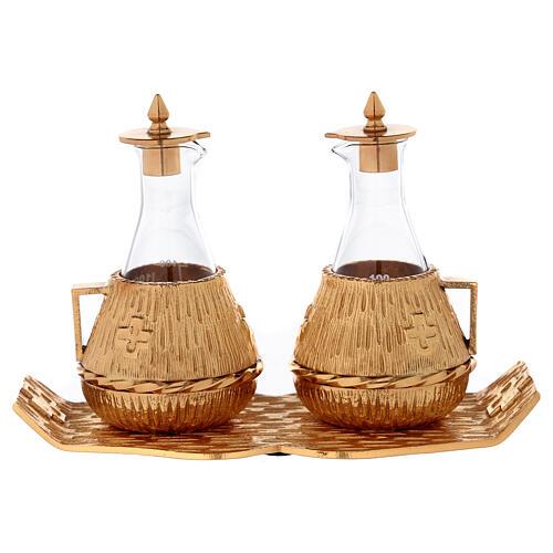 Cruet set gold-plated amphora 1