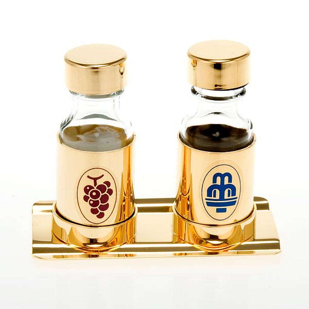 Pareja de vinajeras doradas 30 ml bandeja cubre tapas 4