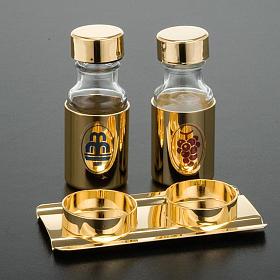 Coppia ampolline dorate 30cc vassoio copritappo s2