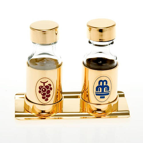 Coppia ampolline dorate 30cc vassoio copritappo 1