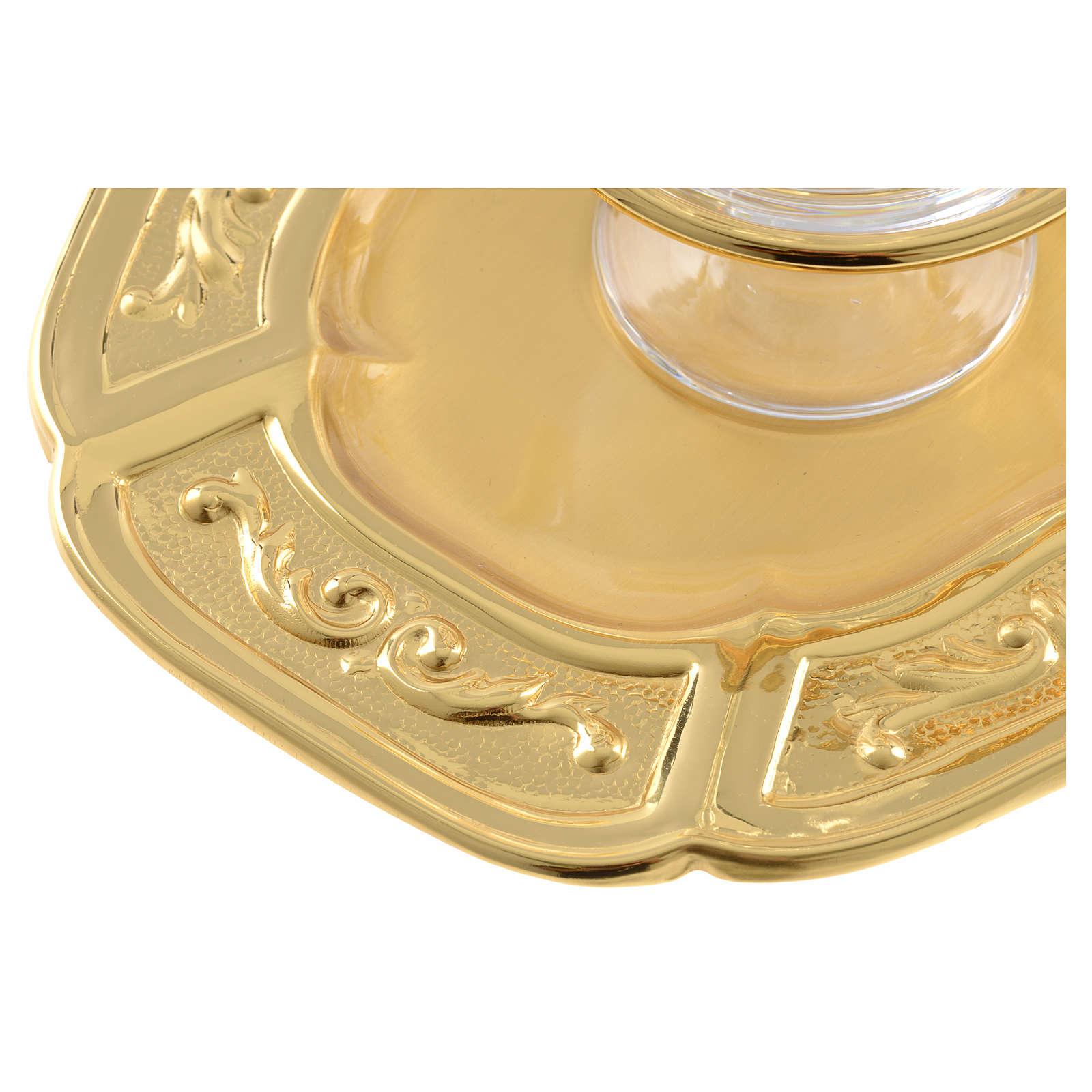 Ampolline vetro piattino ottone dorato 4