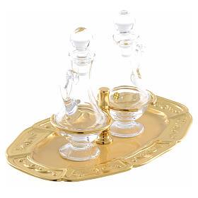 Ampolline vetro piattino ottone dorato s2