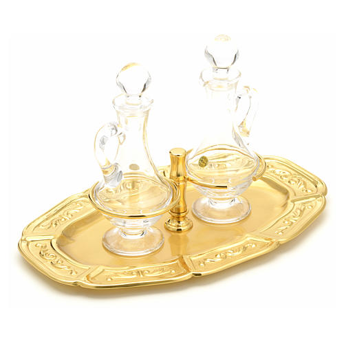 Glass cruets with gold-plated brass tray 7