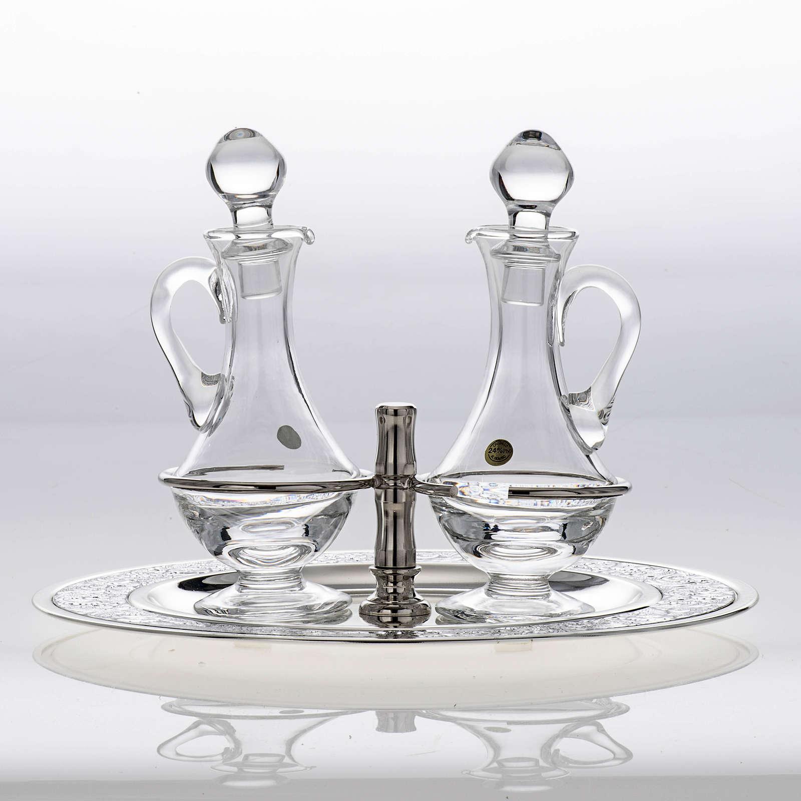 Vinajeras cristal platillo latón plateado 4