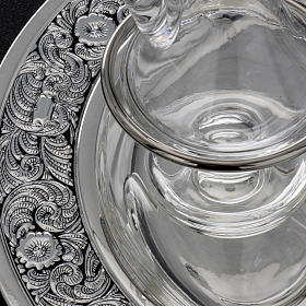 Vinajeras cristal platillo latón plateado s6