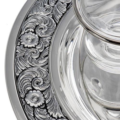 Vinajeras cristal platillo latón plateado 2