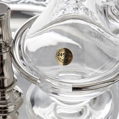 Vinajeras cristal platillo latón plateado 3