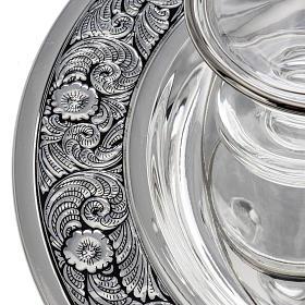 Burettes en verre et plateau en laiton argenté s2