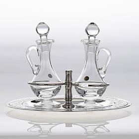 Burettes en verre et plateau en laiton argenté s4