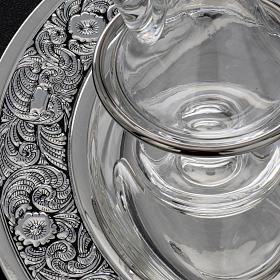 Burettes en verre et plateau en laiton argenté s6