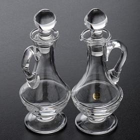 Burettes en verre et plateau en laiton argenté s9