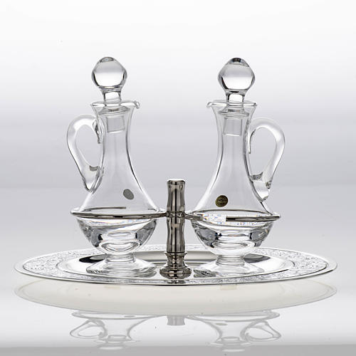 Burettes en verre et plateau en laiton argenté 4