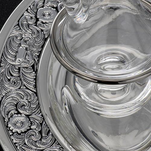 Burettes en verre et plateau en laiton argenté 6