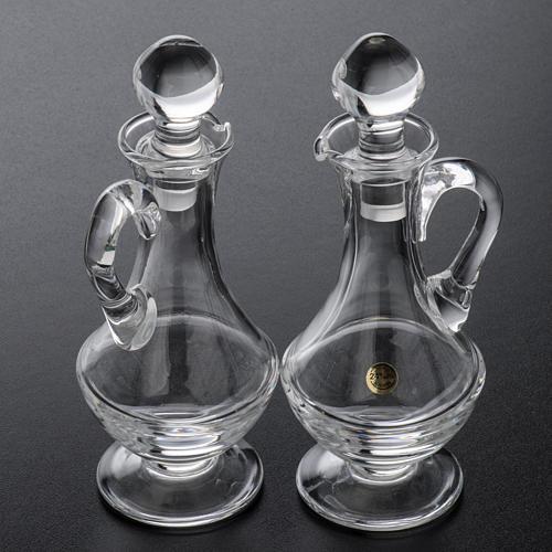 Burettes en verre et plateau en laiton argenté 9