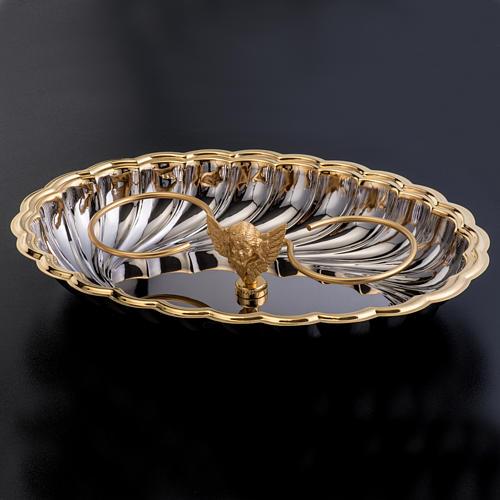 Vinajeras cristal base niquelada dorada angelito 4