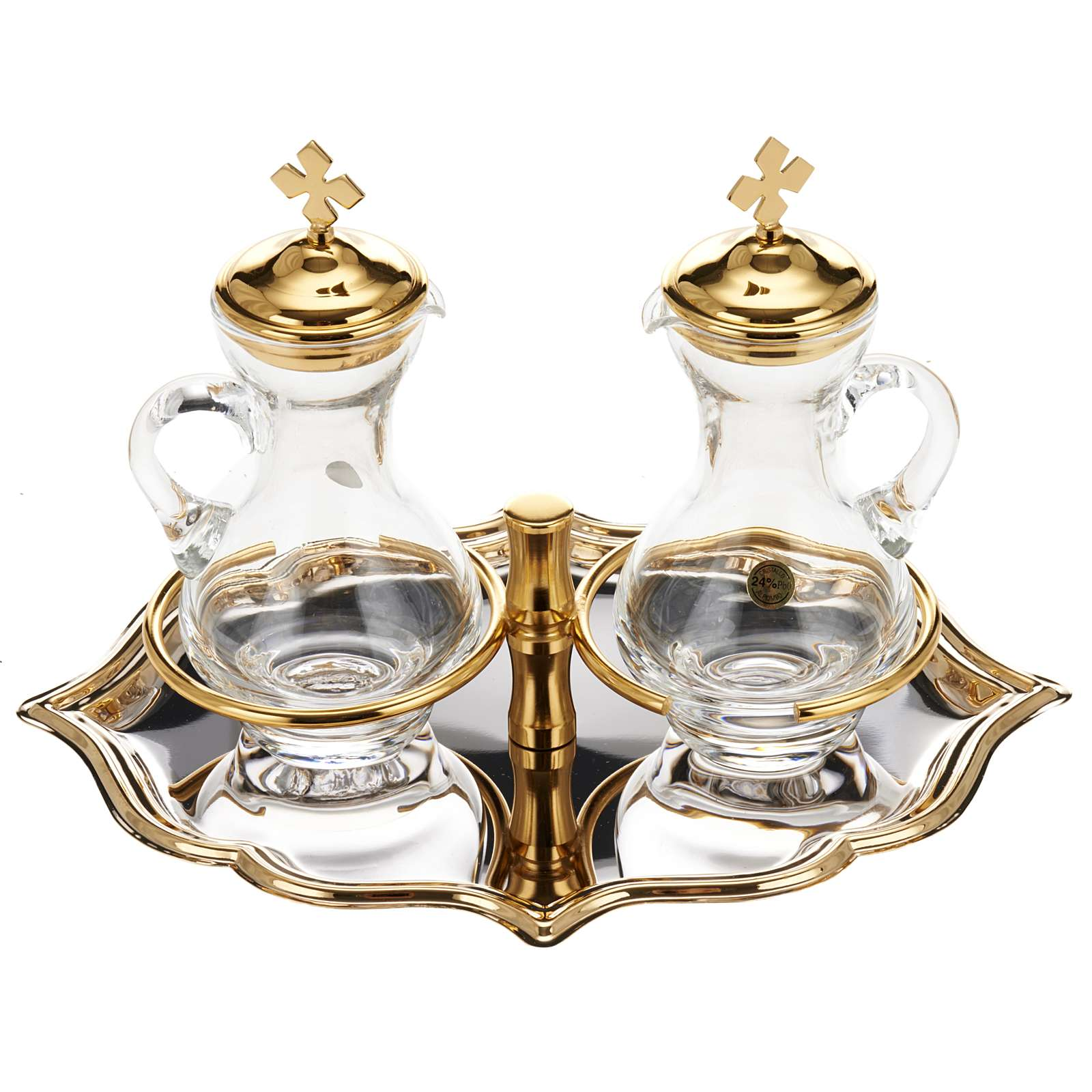Glass cruet set with nickel and gold-plated brass tray 4