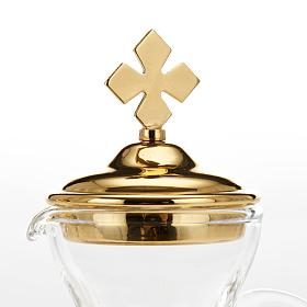 Glass cruet set with nickel and gold-plated brass tray s9