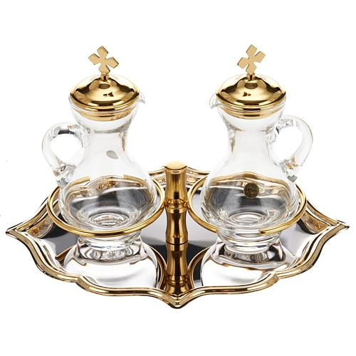 Glass cruet set with nickel and gold-plated brass tray 1