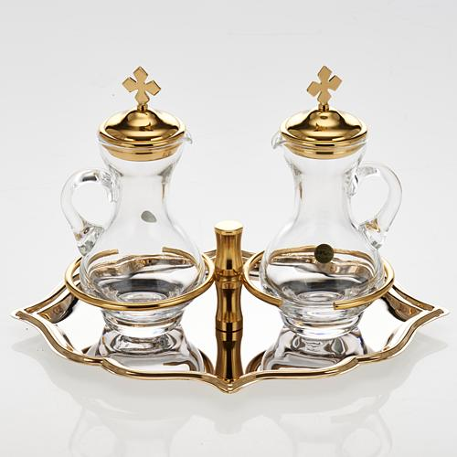 Glass cruet set with nickel and gold-plated brass tray 2