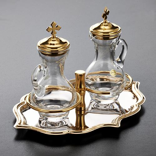 Glass cruet set with nickel and gold-plated brass tray 3