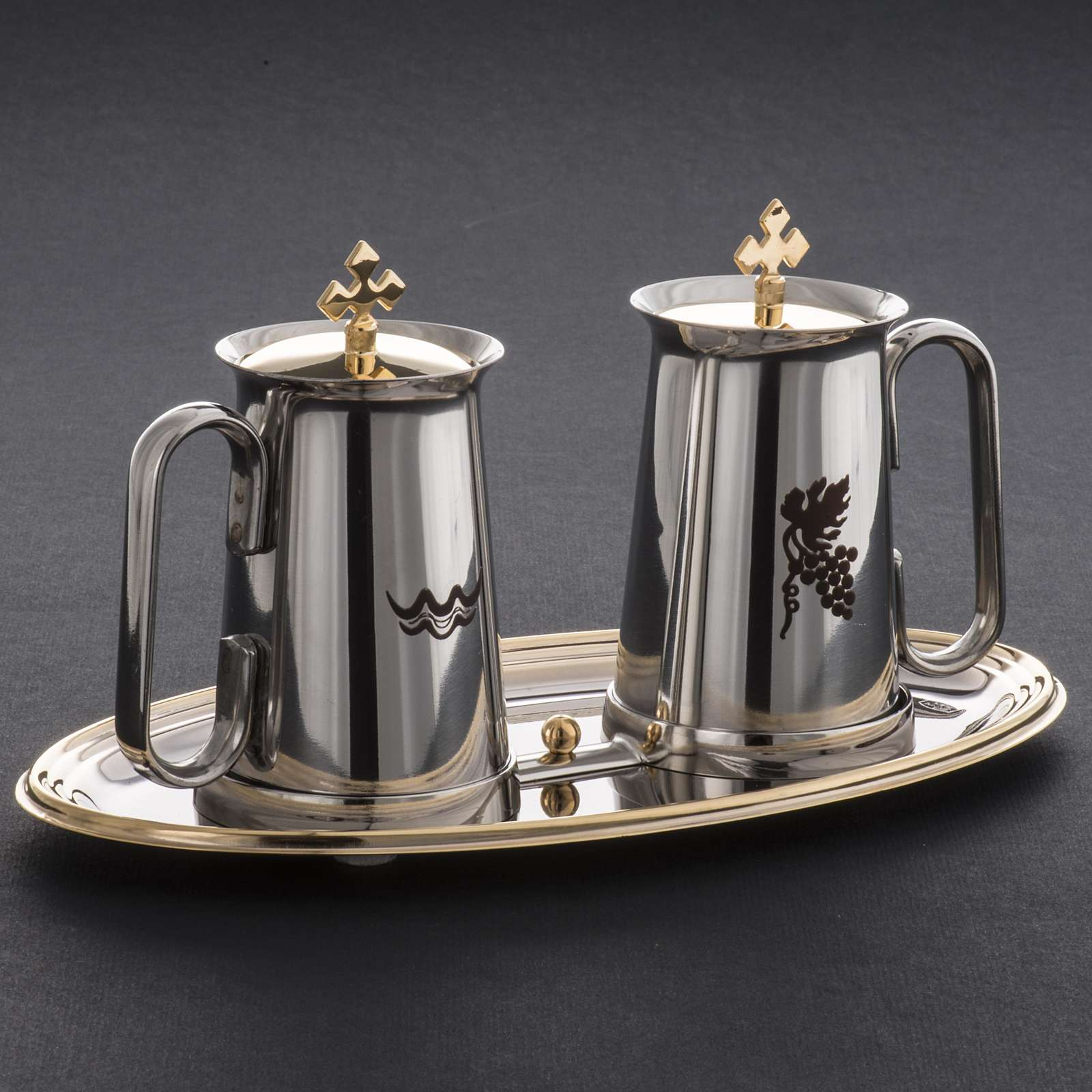 Stainless steel cruet set, water and grapes symbols 4