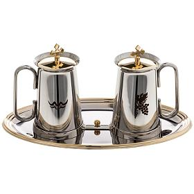 Stainless steel cruet set, water and grapes symbols s1