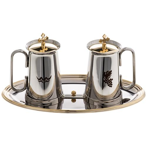 Stainless steel cruet set, water and grapes symbols 1