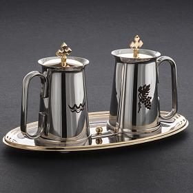 Stainless steel cruet set, water and grapes symbols s7