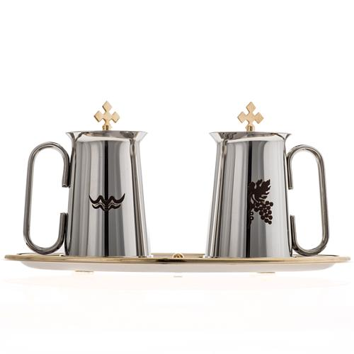 Stainless steel cruet set, water and grapes symbols 2
