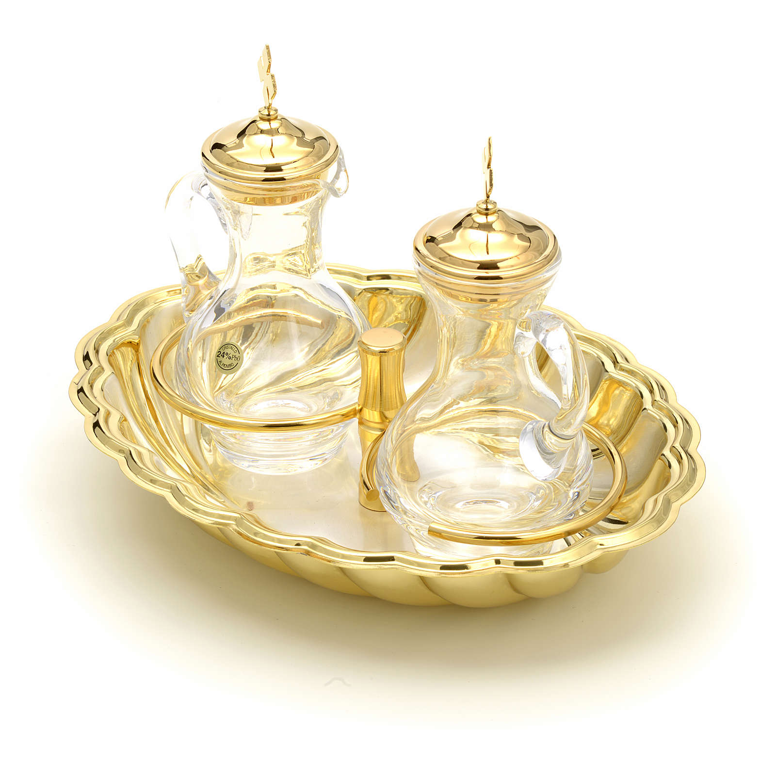 Ampolline vetro vassoio argento e oro 4