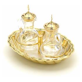 Ampolline vetro vassoio argento e oro s2