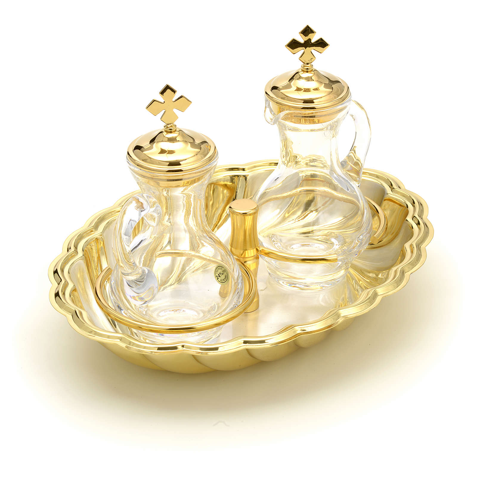 Glass cruet set with silver and gold-plated brass tray 4