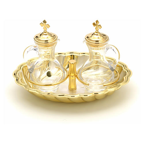 Glass cruet set with silver and gold-plated brass tray 1