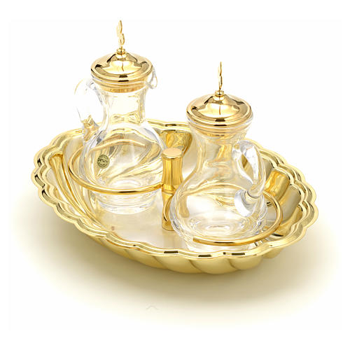 Glass cruet set with silver and gold-plated brass tray 2