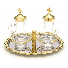 Ampolline vetro vassoio nikel e oro s1