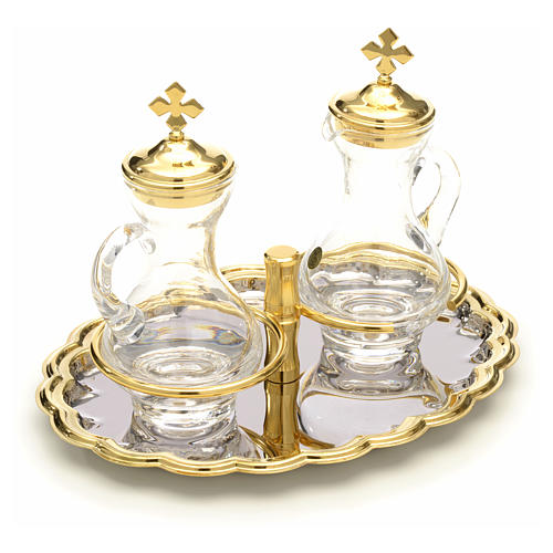 Ampolline vetro vassoio nikel e oro 3