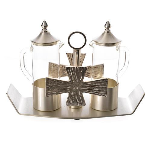 Ampolline ottone argentato con croce 1
