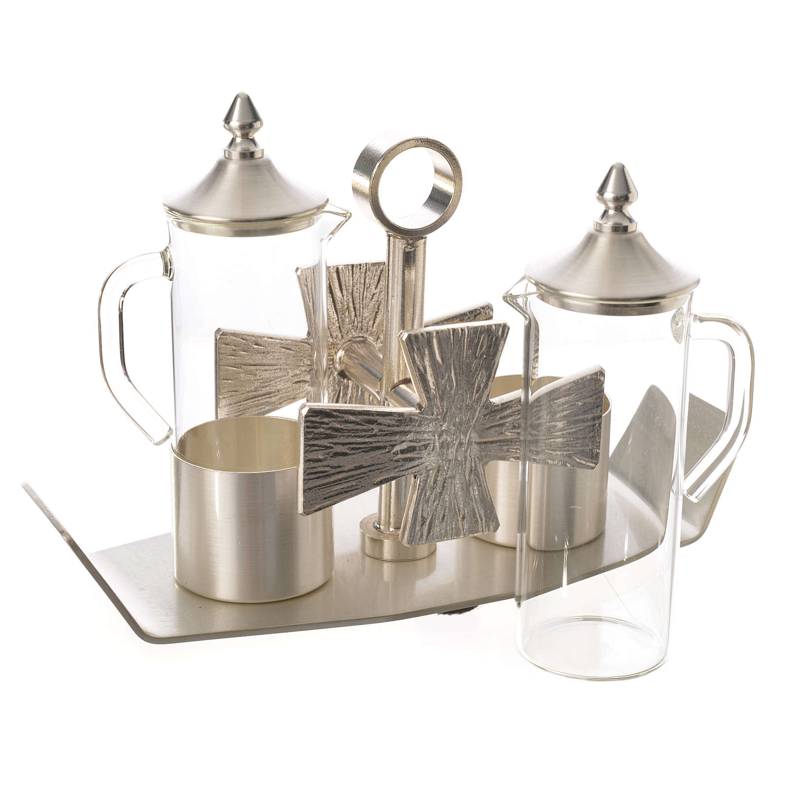 Cruets for mass, in silver-plated brass and cross 4