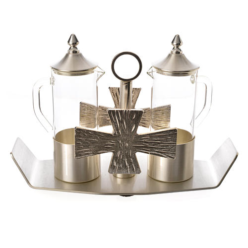 Cruets for mass, in silver-plated brass and cross 1